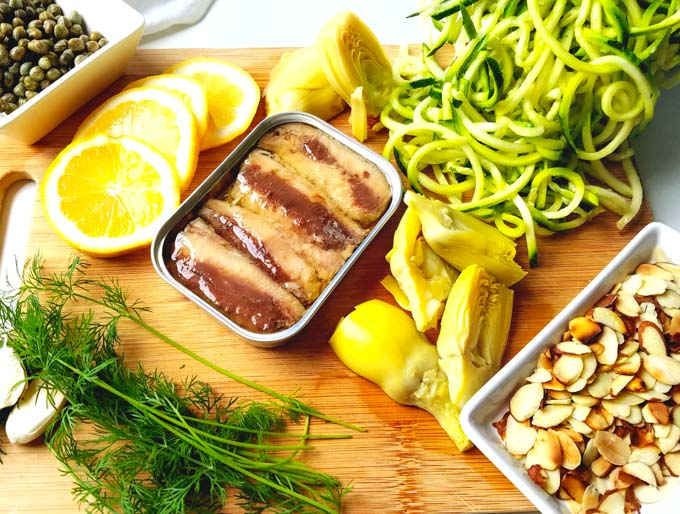 low carb zoodles recipe ingredients on cutting board