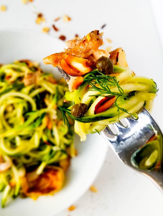 zucchini noodle recipe in bowl